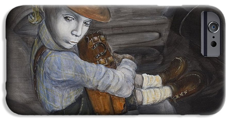 Boy IPhone 6 Case featuring the painting Hitchhiker by Nik Helbig