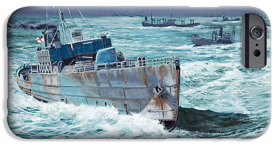Hms Compass Rose IPhone 6 Case featuring the painting Hms Compass Rose Escorting North Atlantic Convoy by Glenn Secrest