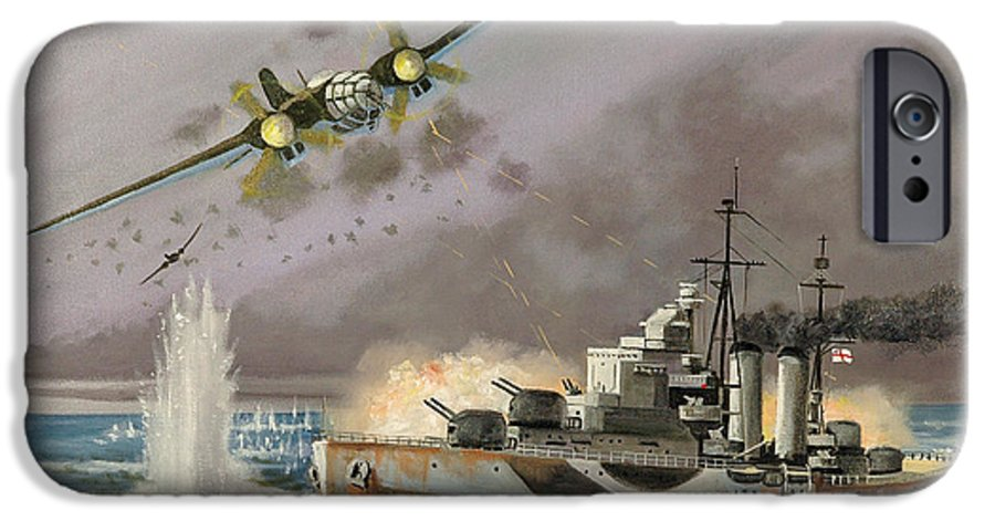 Ships That Never Were IPhone 6 Case featuring the painting Hms Ulysses Attacked By Heinkel IIis Off North Cape by Glenn Secrest