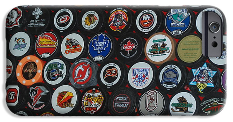 Pop Art IPhone 6 Case featuring the photograph Hockey Pucks by Rob Hans