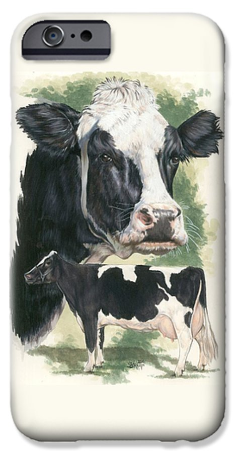 Cow IPhone 6 Case featuring the mixed media Holstein by Barbara Keith