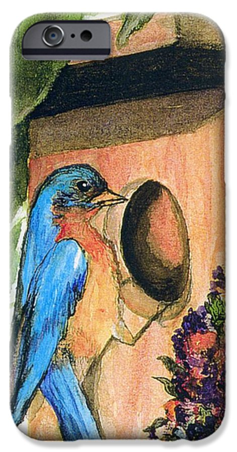 Bluebirds IPhone 6 Case featuring the painting Home Sweet Home by Gail Kirtz