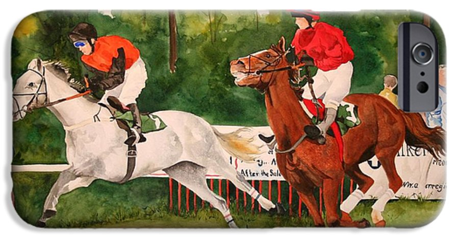 Racing IPhone 6 Case featuring the painting Homestretch by Jean Blackmer