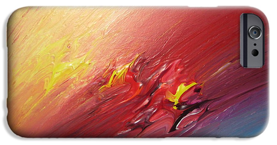 Abstract IPhone 6 Case featuring the painting Honeymoon Bliss - A by Brenda Basham Dothage
