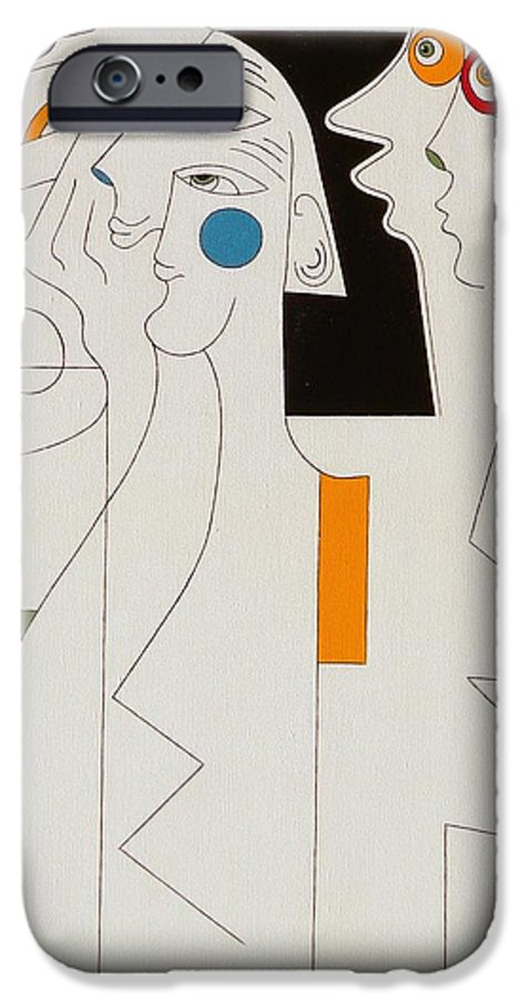 Horror People Eyes Modern Humor White IPhone 6 Case featuring the painting Horror by Hildegarde Handsaeme