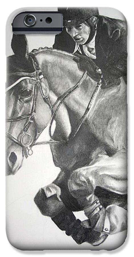 Horse IPhone 6 Case featuring the drawing Horse And Jockey by Darcie Duranceau
