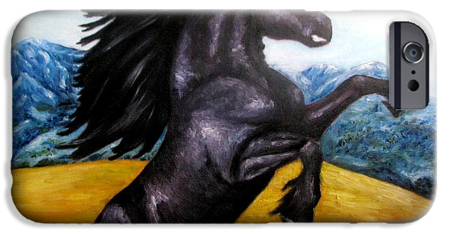 Horse IPhone 6 Case featuring the painting Horse Oil Painting by Natalja Picugina