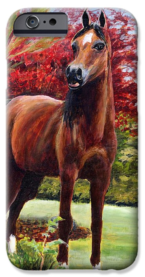Horse IPhone 6 Case featuring the painting Horse Portrait by Eileen Fong