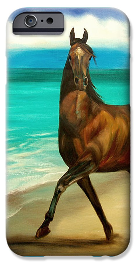 Horse IPhone 6 Case featuring the painting Horses In Paradise Dance by Gina De Gorna