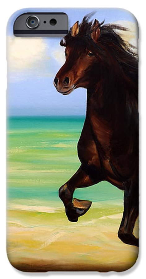 Horses IPhone 6 Case featuring the painting Horses In Paradise Run by Gina De Gorna