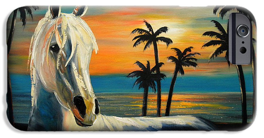 Horse IPhone 6 Case featuring the painting Horses In Paradise Tell Me Your Dream by Gina De Gorna