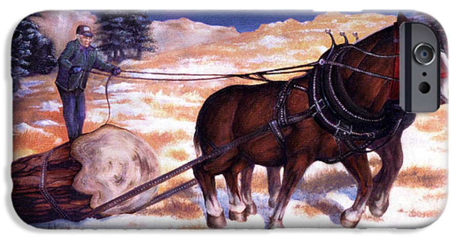 Horse IPhone 6 Case featuring the painting Horses Pulling Log by Curtiss Shaffer