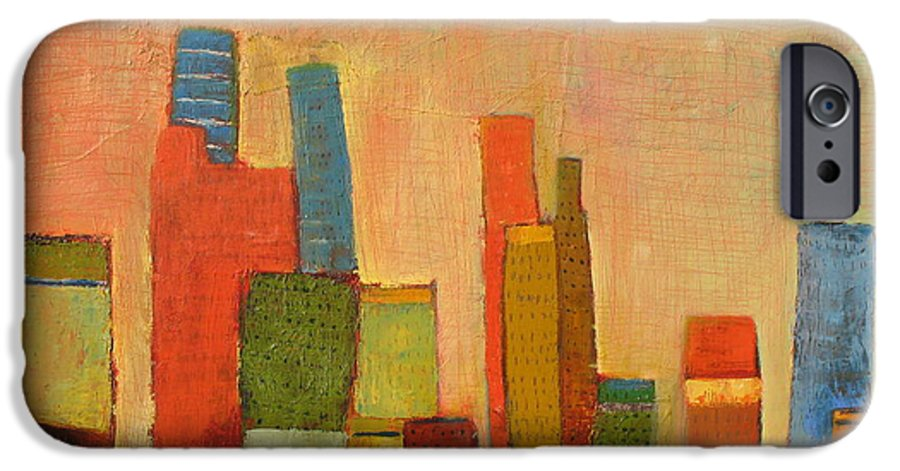 Abstract Cityscape IPhone 6 Case featuring the painting Hot Manhattan by Habib Ayat