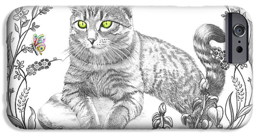 Cat IPhone 6 Case featuring the drawing House Cat by Murphy Elliott