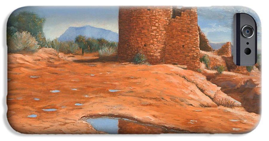 Anasazi IPhone 6 Case featuring the painting Hovenweep Reflection by Jerry McElroy