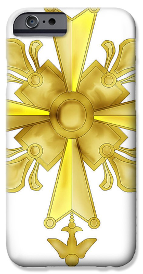 Christian Cross IPhone 6 Case featuring the painting Huguenot Golden Cross by Anne Norskog