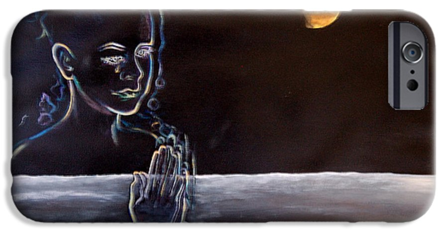 Moon IPhone 6 Case featuring the painting Human Spirit Moonscape by Susan Moore