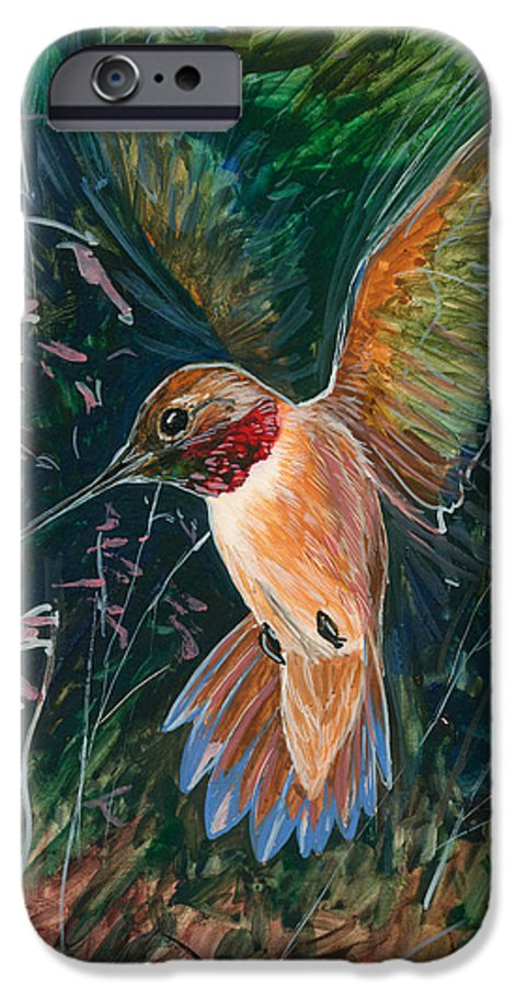 Hummingbird IPhone 6 Case featuring the painting Hummingbird by Shari Erickson