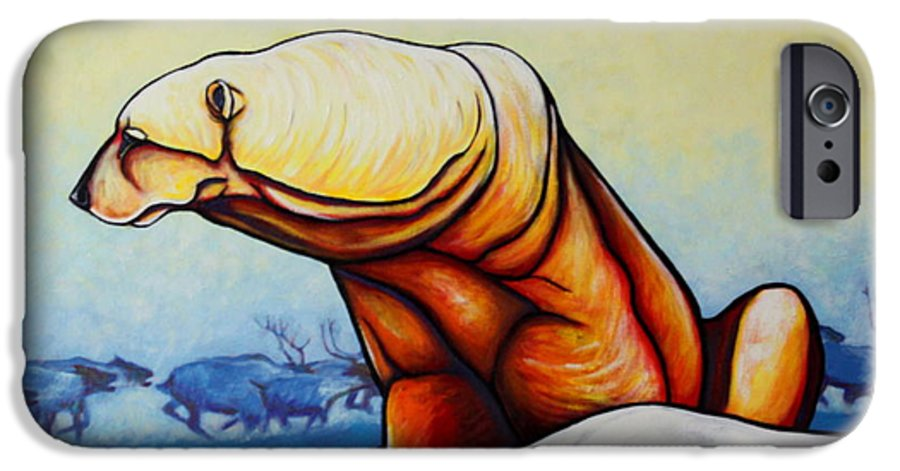 Wildlife IPhone 6 Case featuring the painting Hunger Burns - Polar Bear And Caribou by Joe Triano