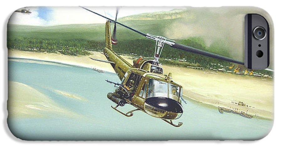 Military IPhone 6 Case featuring the painting Hunter Hueys by Marc Stewart