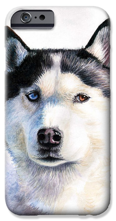 Dog IPhone 6 Case featuring the painting Husky Blue by Nicole Zeug