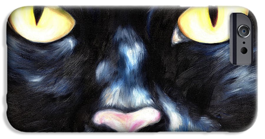 Black Cat IPhone 6 Case featuring the painting I Am Night by Hiroko Sakai