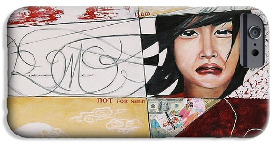 Asian Girl IPhone 6 Case featuring the painting I Am Not A Tourist Attraction by Teresa Carter