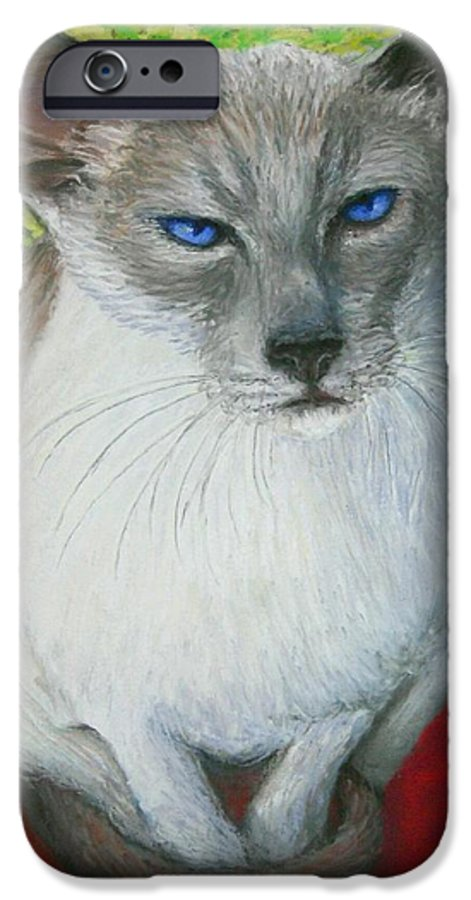 Siamese IPhone 6 Case featuring the painting I Am Siamese If You Please by Minaz Jantz
