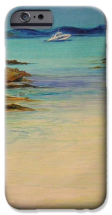 Seascape Original Painting IPhone 6 Case featuring the painting Ibiza In The Distance.... by Lizzy Forrester