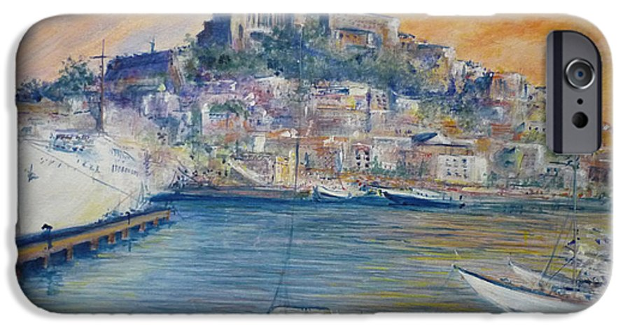 Marina IPhone 6 Case featuring the painting Ibiza Old Town Marina And Port by Lizzy Forrester