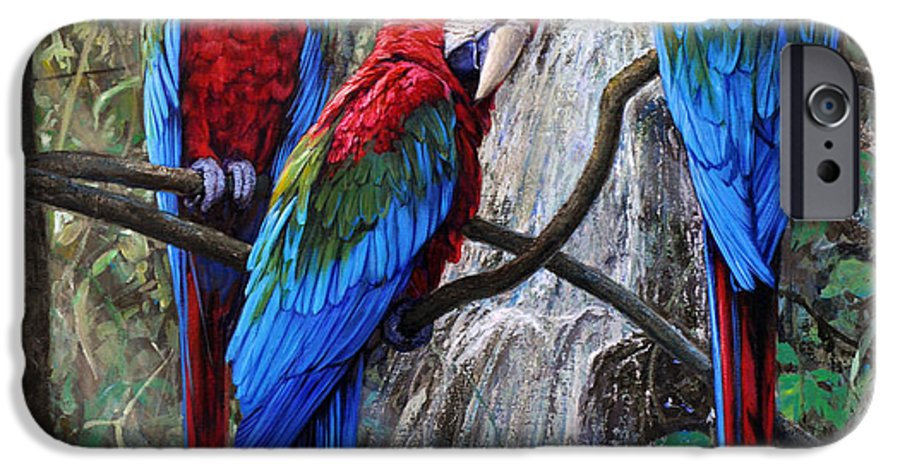 Macaws IPhone 6 Case featuring the painting In Front Of The Cascade by Gabriel Hermida