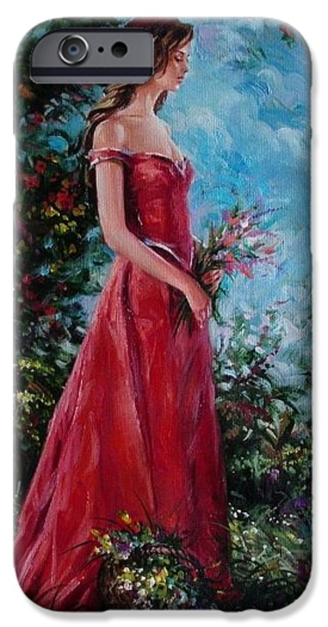 Figurative IPhone 6 Case featuring the painting In Summer Garden by Sergey Ignatenko