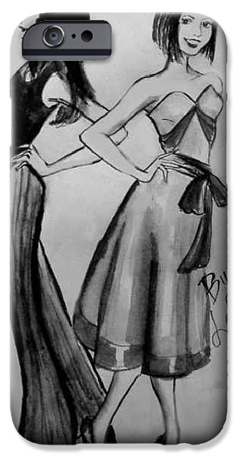 Fashion IPhone 6 Case featuring the drawing Ink Ladies by Laura Rispoli