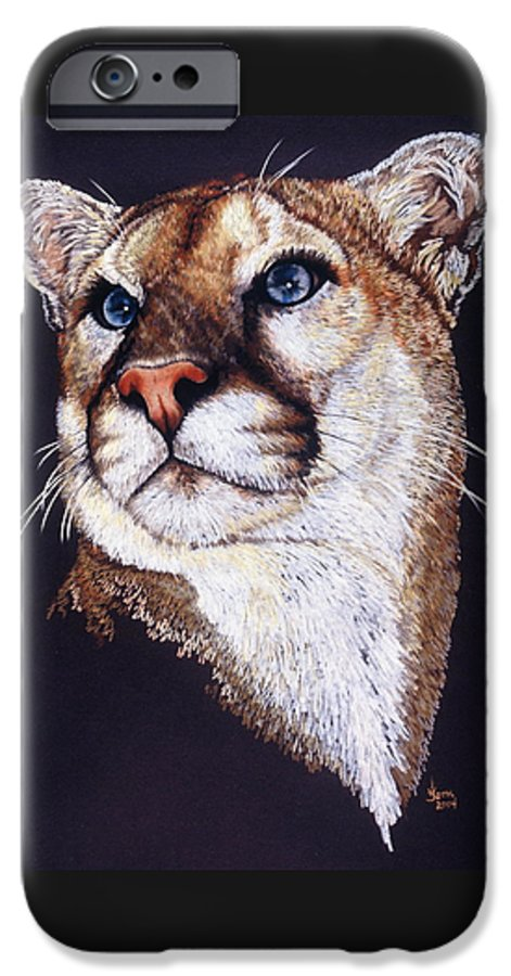 Cougar IPhone 6 Case featuring the drawing Intense by Barbara Keith