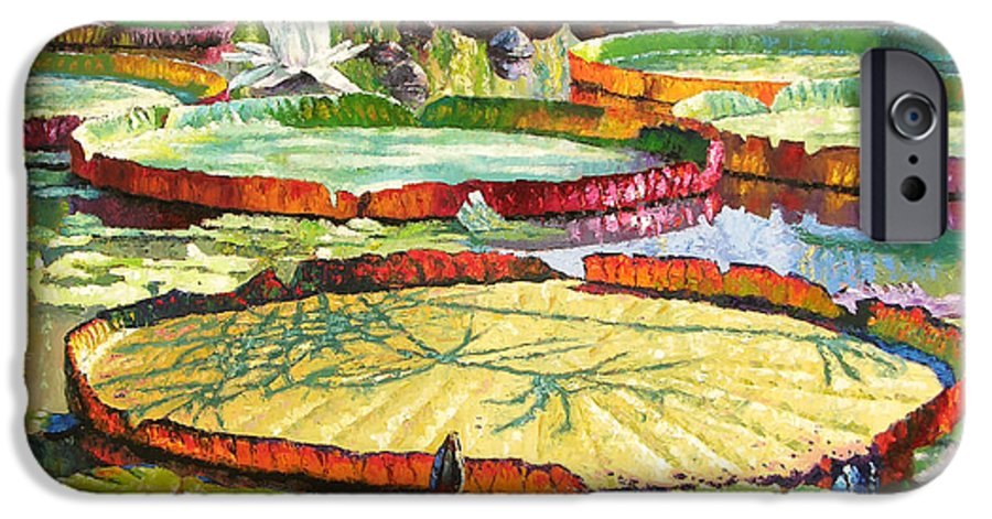 Garden Pond IPhone 6 Case featuring the painting Interwoven Beauty by John Lautermilch