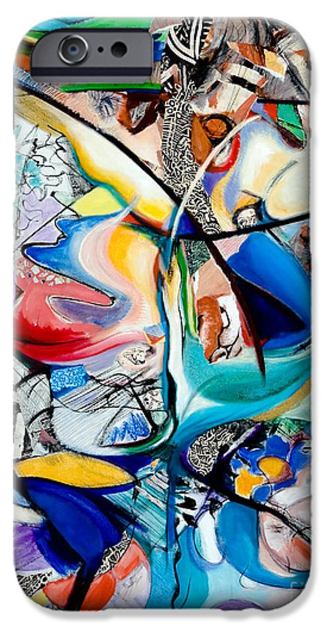 Abstract IPhone 6 Case featuring the painting Intimate Glimpses - Journey Of Life by Kerryn Madsen-Pietsch