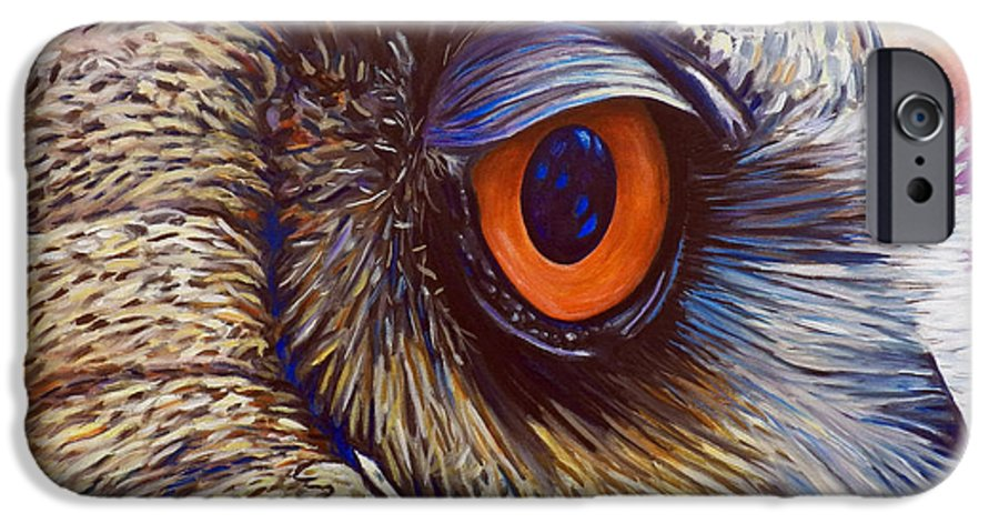 Owl IPhone 6 Case featuring the painting Introspection by Brian Commerford