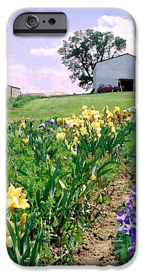 Landscape Painting IPhone 6 Case featuring the photograph Iris Farm by Steve Karol