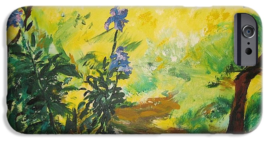 Sunlight IPhone 6 Case featuring the painting Irises And Sunlight by Lizzy Forrester