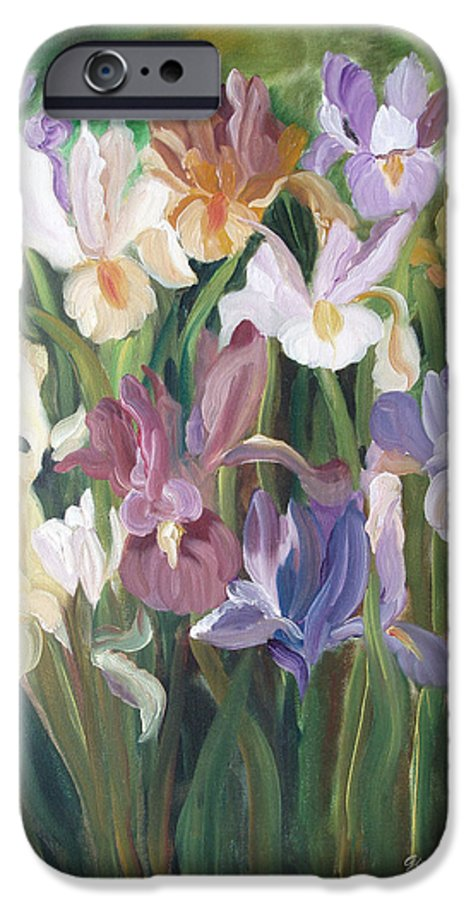 Irises IPhone 6 Case featuring the painting Irises by Gina De Gorna