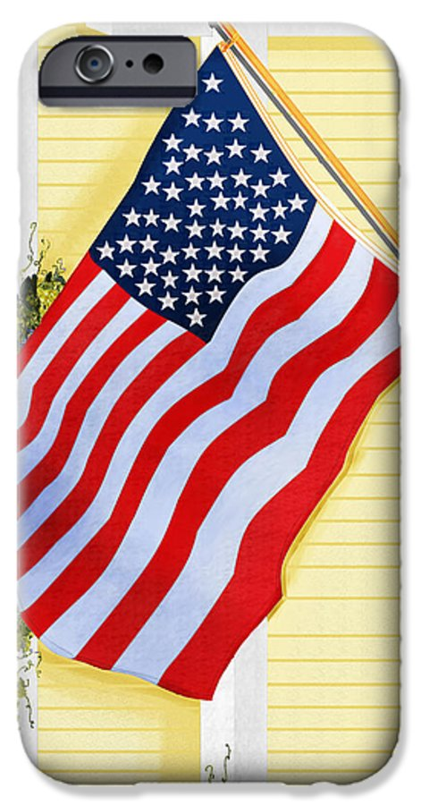 U.s. Flag IPhone 6 Case featuring the painting It Will Fly Until They All Come Home by Anne Norskog