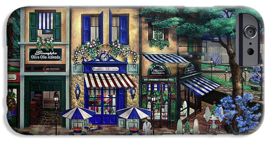 Italian IPhone 6 Case featuring the mixed media Italian Cafe by Curtiss Shaffer