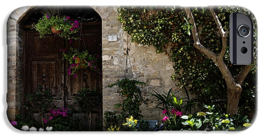 Flower IPhone 6 Case featuring the photograph Italian Front Door Adorned With Flowers by Marilyn Hunt