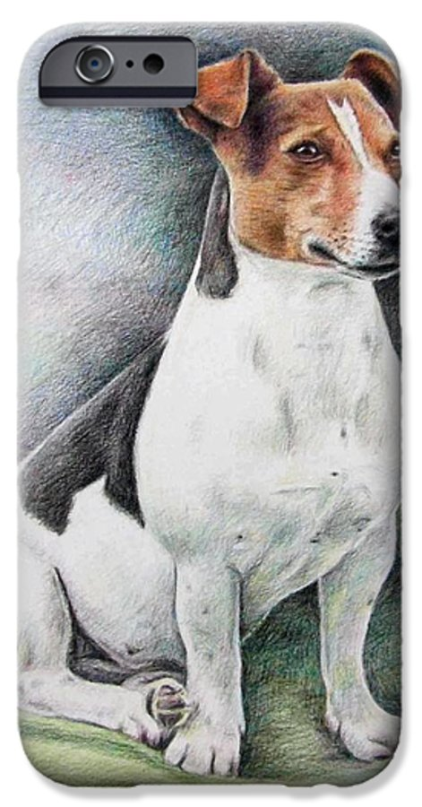Dog IPhone 6 Case featuring the drawing Jack Russell Terrier by Nicole Zeug