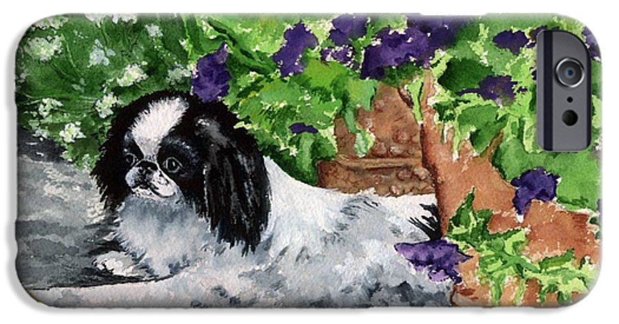 Japanese Chin IPhone 6 Case featuring the painting Japanese Chin Puppy And Petunias by Kathleen Sepulveda