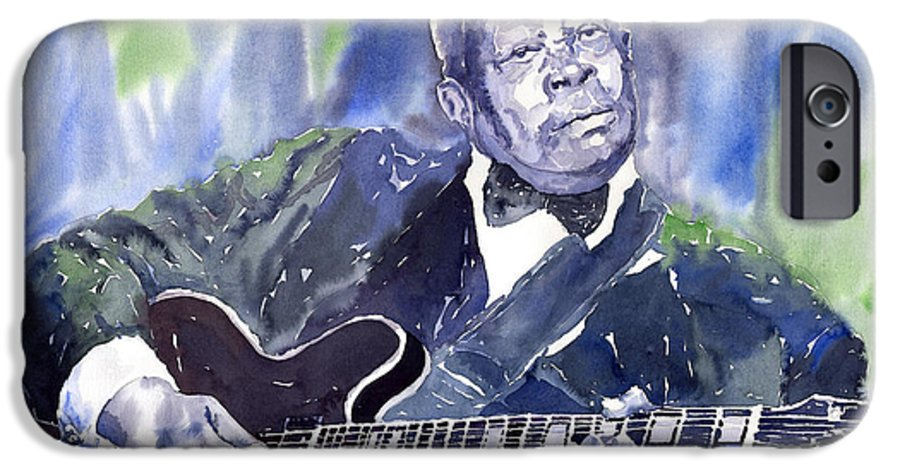 Jazz Bbking Music Watercolor Watercolour Guitarist Portret IPhone 6 Case featuring the painting Jazz B B King 01 by Yuriy Shevchuk