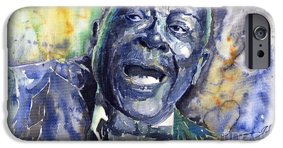 Jazz IPhone 6 Case featuring the painting Jazz B.b.king 04 Blue by Yuriy Shevchuk