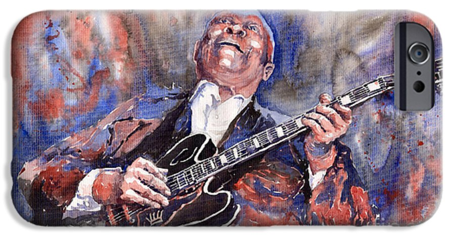 Jazz IPhone 6 Case featuring the painting Jazz B B King 05 Red A by Yuriy Shevchuk