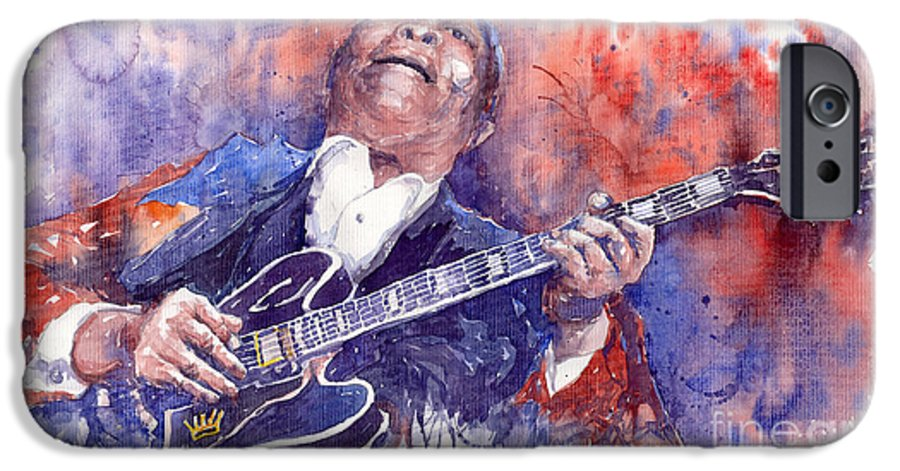 Jazz IPhone 6 Case featuring the painting Jazz B B King 05 Red by Yuriy Shevchuk