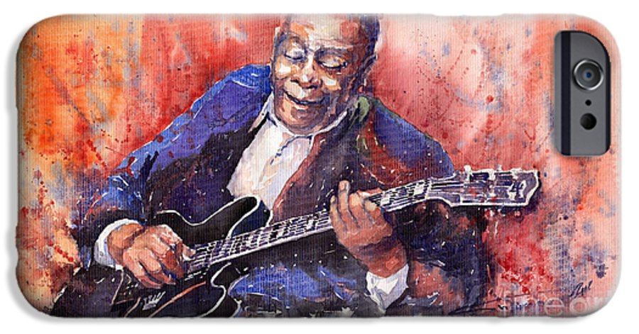 Jazz IPhone 6 Case featuring the painting Jazz B B King 06 A by Yuriy Shevchuk